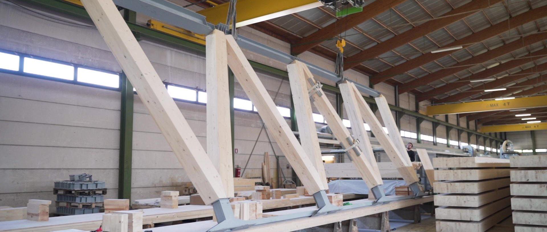Wooden: Préassemblage des fermes-treillis